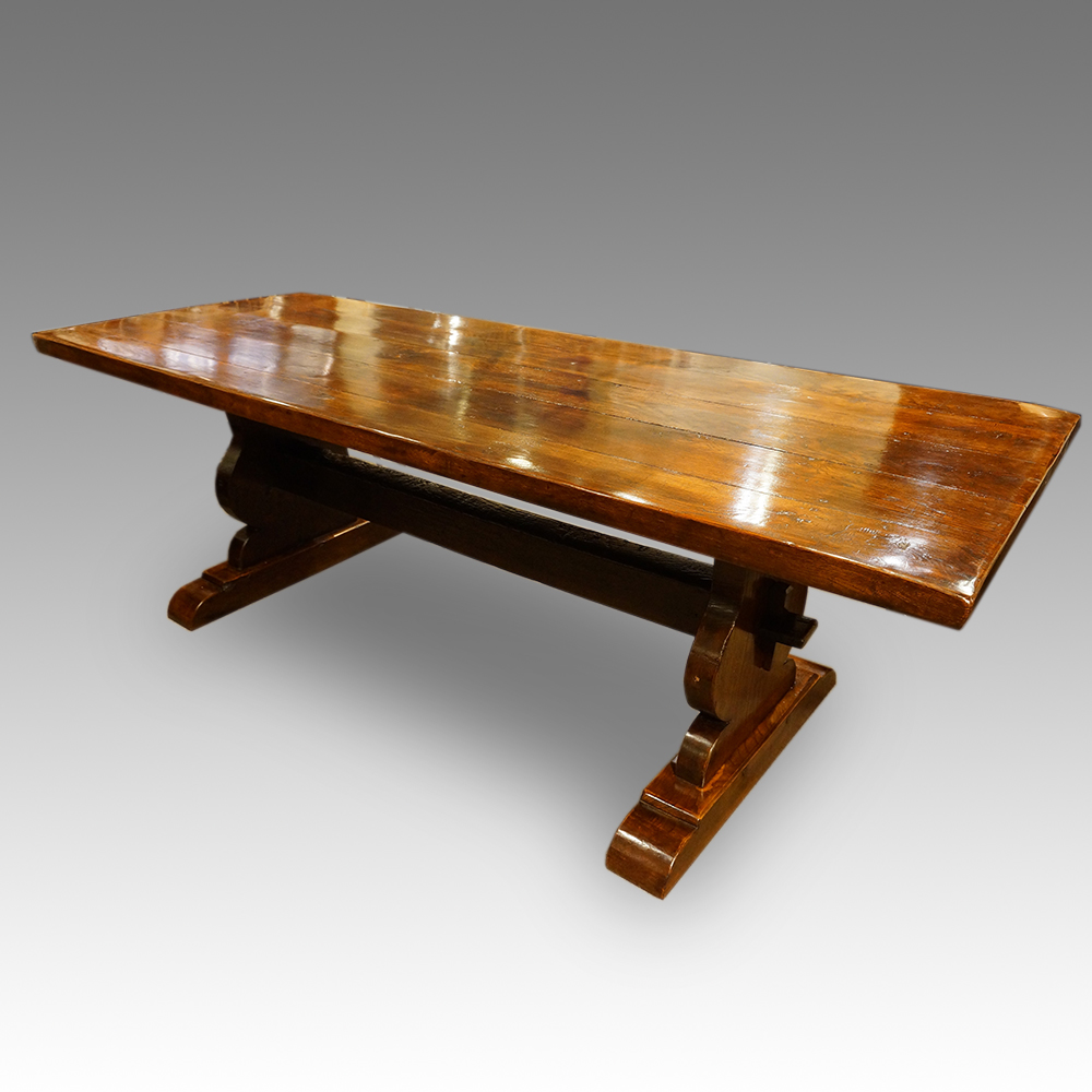 Large Oak Refectory Dining Table Hingstons Antiques Dealers