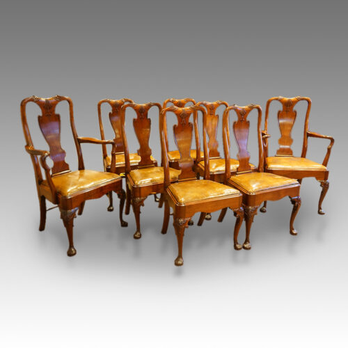 Set of 8 mahogany Victorian, George I style dining chairs