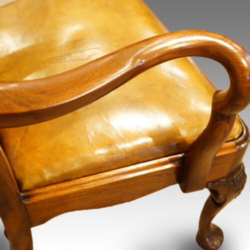 Antique chair leather seat