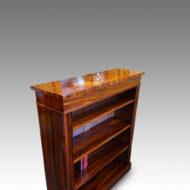 Victorian Goncalo Alves open bookcase side view