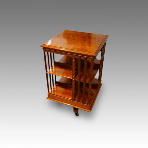 Victorian mahogany revolving bookcase side view