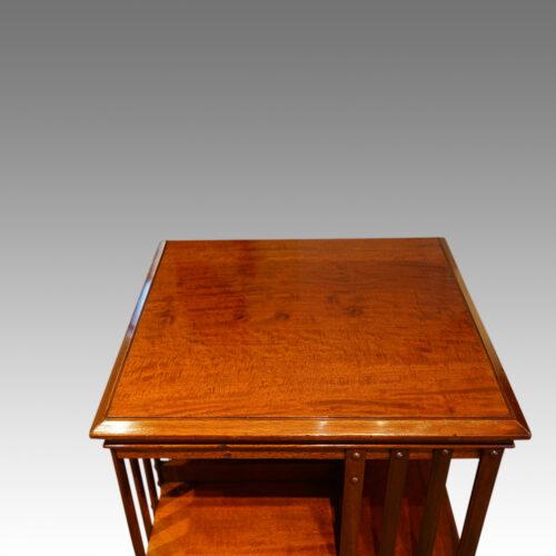 Victorian mahogany revolving bookcase top detail