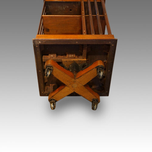 Victorian mahogany revolving bookcase underneath view
