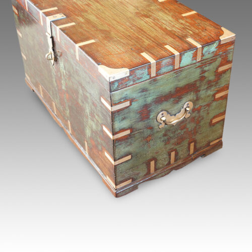 Antique Victorian teak brass bound military chest with some original paint end view