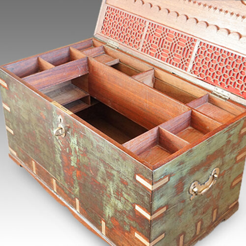 Antique Victorian teak brass bound military chest with some original paint fitted interior