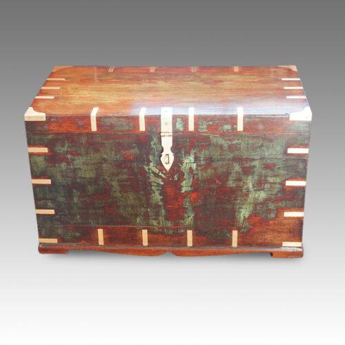 Antique Victorian teak brass bound military chest with some original paint