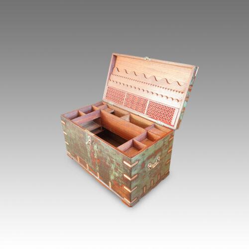 Antique Victorian teak brass bound military chest with some original paint interior