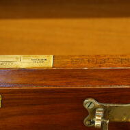 Edwardian Maple & co walnut pedestal desk makers stamp