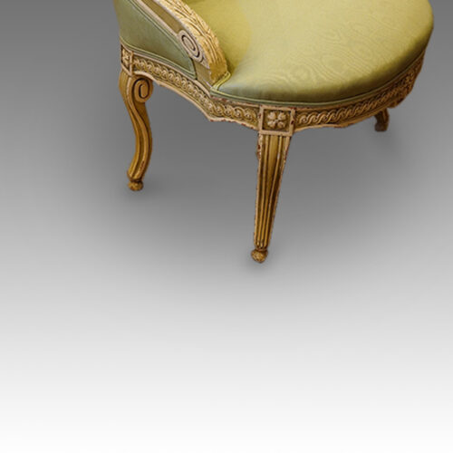French decorated salon chair side view legs