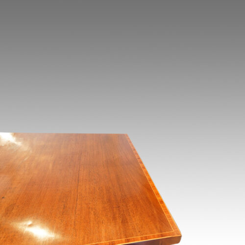 Georgian serpentine mahogany inlaid sideboard back edge