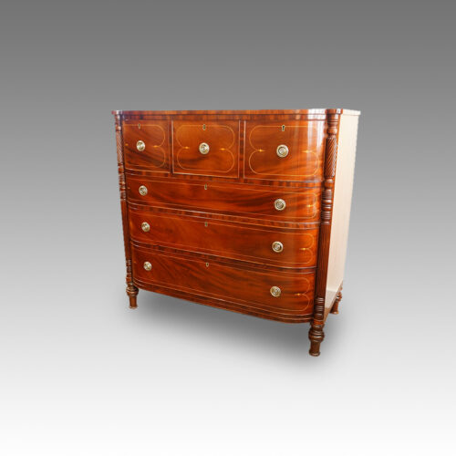 Regency inlaid mahogany D shape chest of drawers angle view