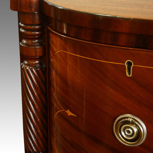 Regency inlaid mahogany D shape chest of drawers detail rope twist carving
