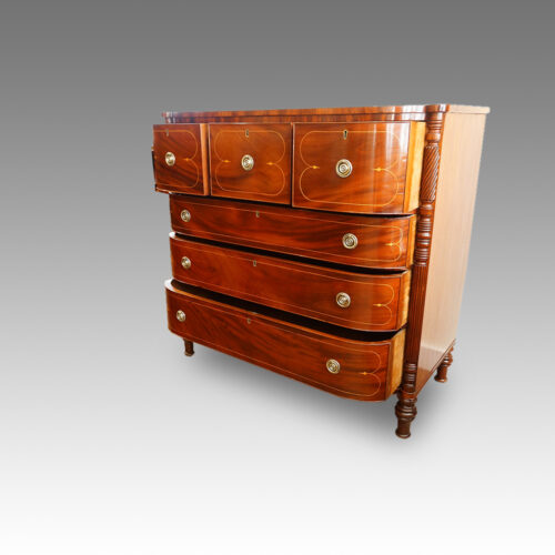 Regency inlaid mahogany D shape chest of drawers open