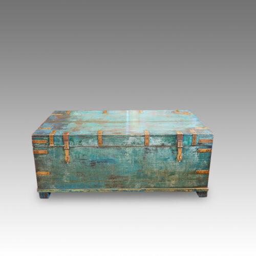 Victorian brass bound campaign trunk in original blue paint