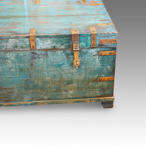 Victorian brass bound campaign trunk in original blue paint end view