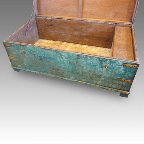 Victorian brass bound campaign trunk in original blue paint interior