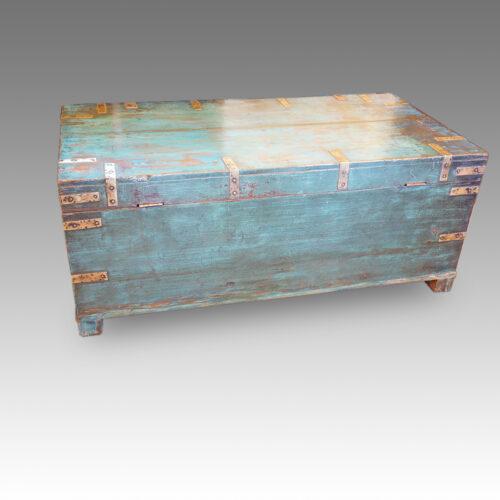 Victorian brass bound campaign trunk in original blue paint rear