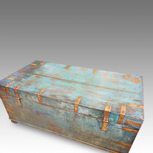 Victorian brass bound campaign trunk in original blue paint top