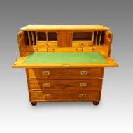 Victorian camphorwood brass bound campaign chest desk interior