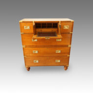 Victorian oak brass bound military chest with desk open