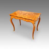 Victorian serpentine inlaid walnut card table