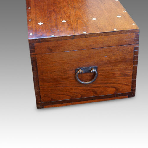 Victorian teak campaign chest end view