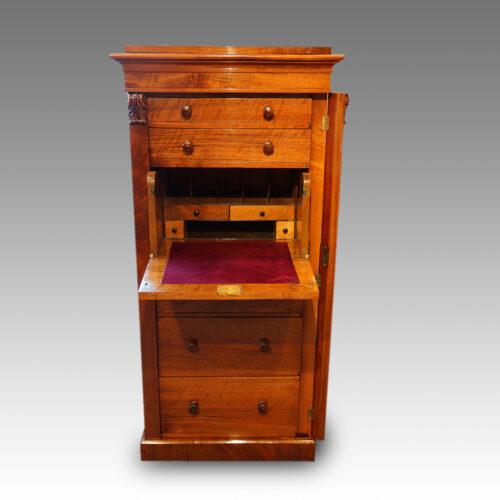 Victorian walnut secretaire Wellington chest desk open