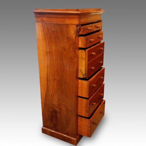 Victorian walnut secretaire Wellington chest drawers