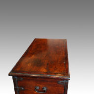 Antique Colonial hardwood iron bound mule chest top from side