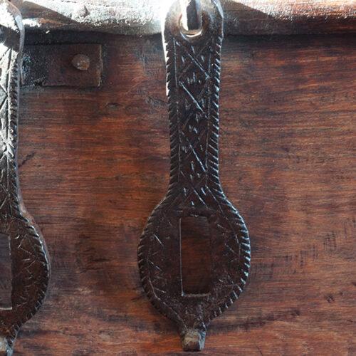 Antique Colonial valuables chest, detail hasps