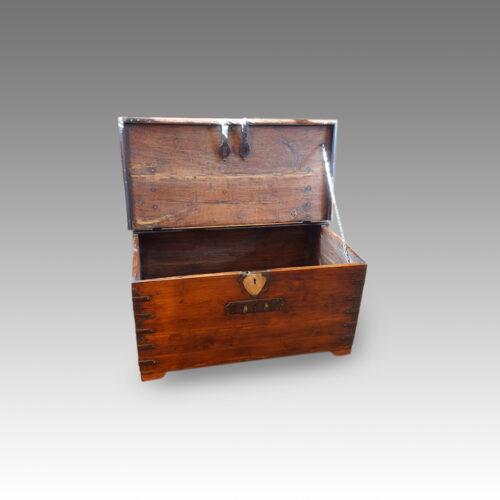 Antique Colonial valuables chest,open