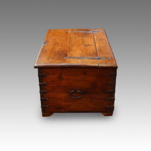 Antique Colonial valuables chest,side