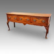 Antique oak cabriole leg dresser base with inlay