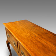 Antique oak cabriole leg dresser base with inlay upper view