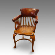 Edwardian oak and leather desk chair
