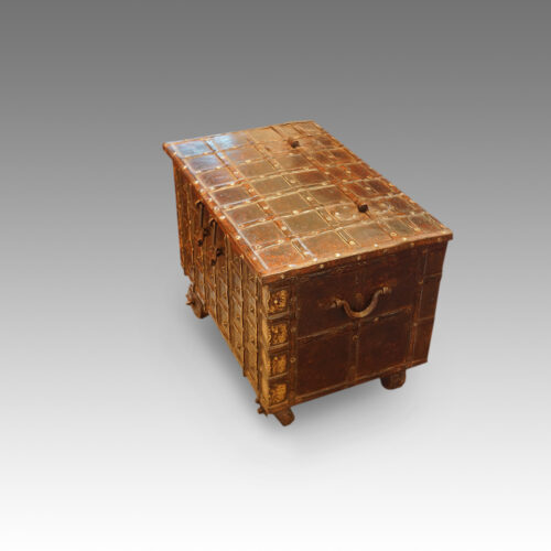 Small Indian iron bound marriage chest end
