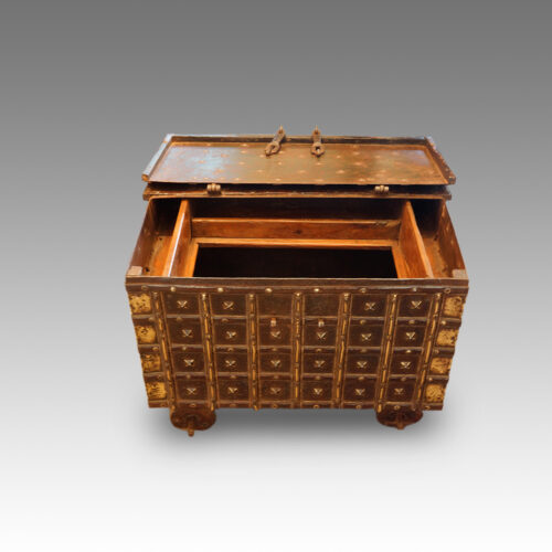 Small Indian iron bound marriage chest interior