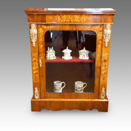 Victorian floral inlaid pier cabinet