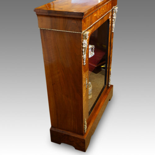 Victorian floral inlaid pier cabinet side