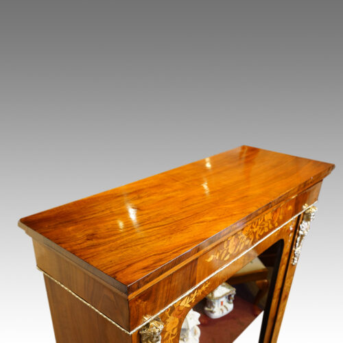 Victorian floral inlaid pier cabinet top view