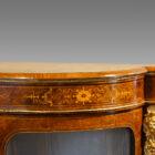 Victorian inlaid burr walnut credenza end detail