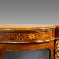 Victorian inlaid burr walnut credenza end detail