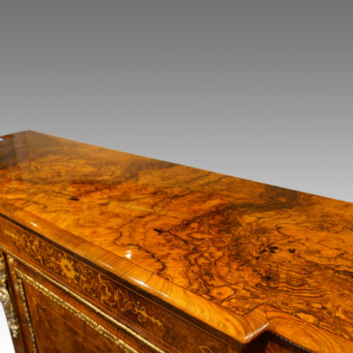 Victorian inlaid burr walnut credenza top long view