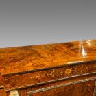 Victorian inlaid burr walnut credenza top centre