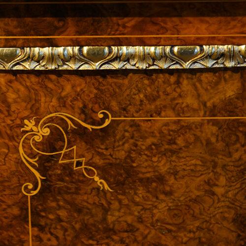 Victorian inlaid burr walnut credenza door detail