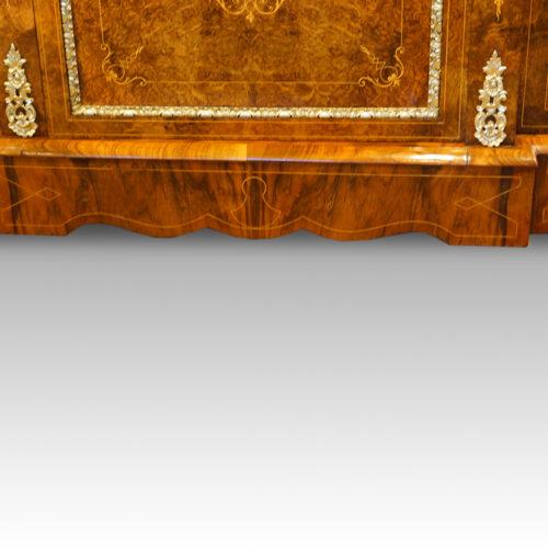 Victorian inlaid burr walnut credenza plinth
