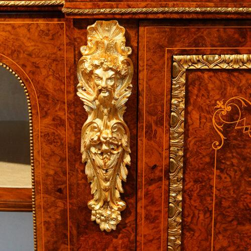 Victorian inlaid burr walnut credenza gilt mount