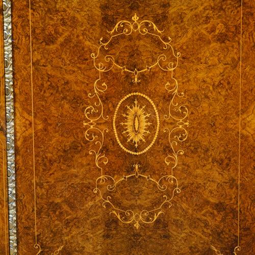 Victorian inlaid burr walnut credenza centre of door panel