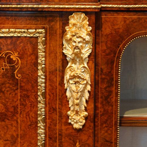Victorian inlaid burr walnut credenza cast mount