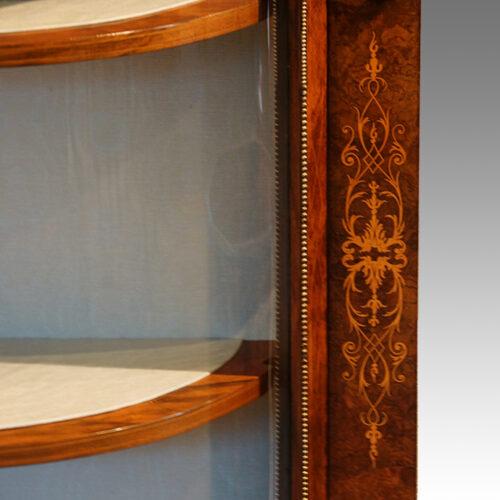 Victorian inlaid burr walnut credenza motif